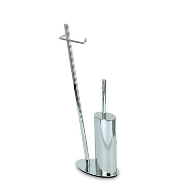 piantana bagno scopino e porta carta in ottone cromato - Scopino Da Bagno Design