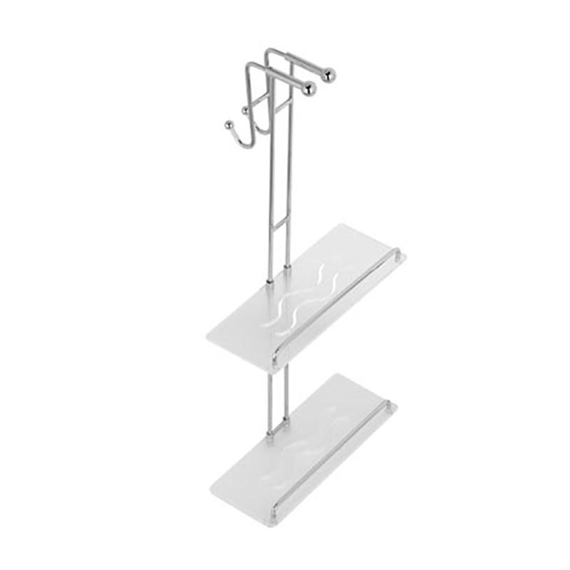 Mensola doccia con appendi abiti in ottone cromato da appendere - Accessori doccia portaoggetti ...