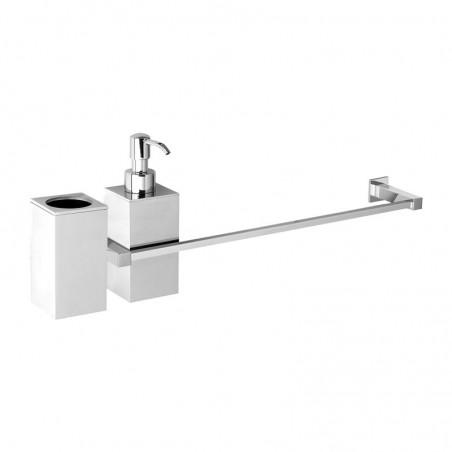 Porta salviette cm 40 + dosatore sapone liquido + porta bicchiere da bagno linea Picasso in ottone cromato - accessori bagno