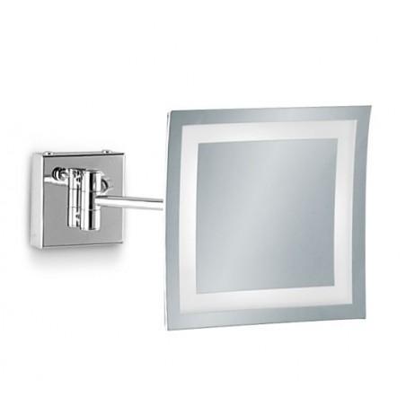 Specchio ingranditore da bagno quadrato a parete con luce Led e cornice sabbiata