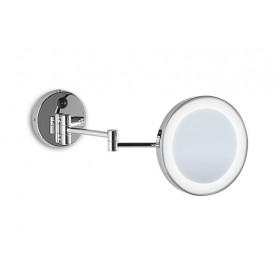 Specchio ingranditore a parete illuminato con sabbiatura.