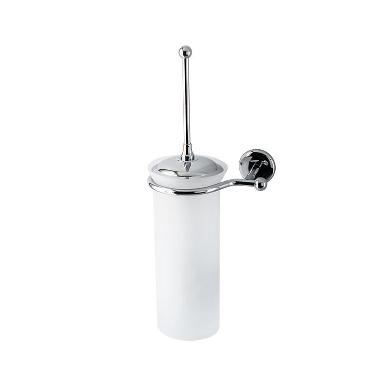 Porta scopino da bagno a parete Linea Elite in ottone cromato e vetro satinato