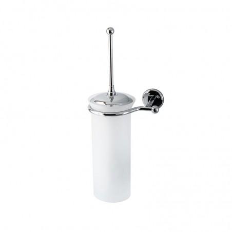 Porta scopino da bagno a parete Linea Elite in ottone cromato tazza vetro satinato - accessori bagno