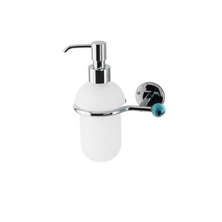 Dosatore di sapone liquido da bagno linea Elite in ottone cromato e finali in vetro colorato - accessori bagno