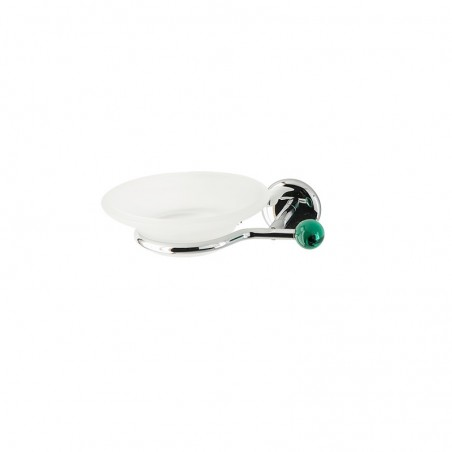 Porta sapone da bagno linea Elite in ottone cromato e finali in vetro colorato - accessori bagno