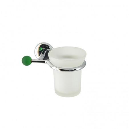 Porta bicchiere da bagno linea Elite in ottone cromato e finali in vetro colorato - accessori bagno
