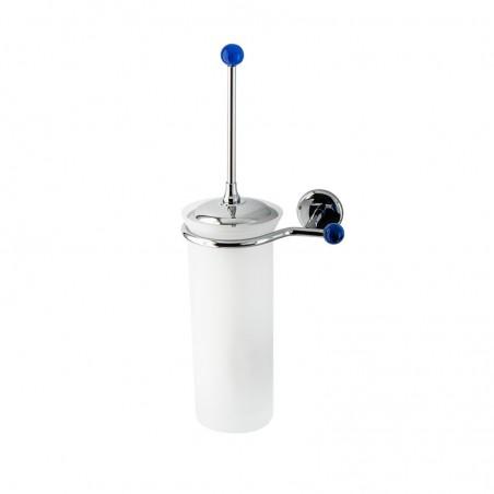 Porta scopino da bagno a parete Linea Elite in ottone cromato e vetro satinato con finali in vetro colorato - accessori bagno