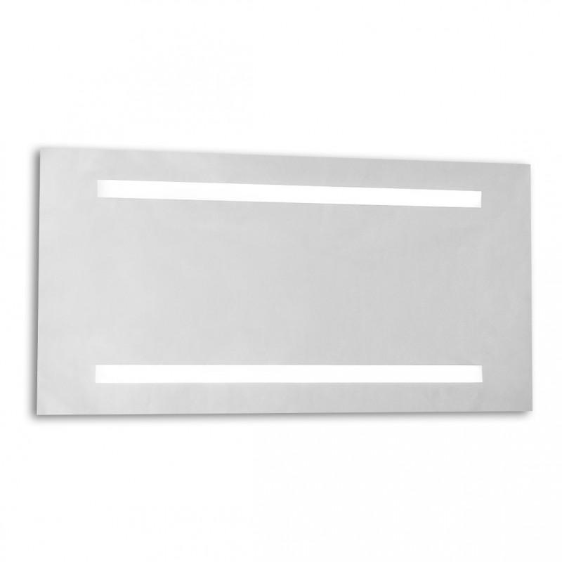 Specchio con illuminazione neon integrata e sabbiature.