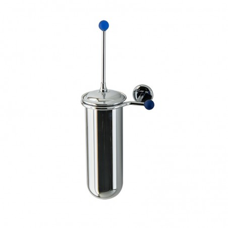 Porta scopino da bagno a parete Linea Elite in ottone cromato e finali in vetro colorato - accessori bagno