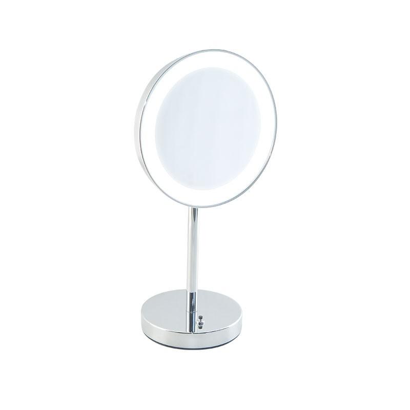 Specchio ingranditore bagno con luce led batteria appoggio for Specchio da tavolo con luce ikea