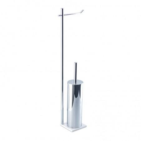 Piantana wc da bagno di alta qualità in ottone cromato - base cm 10 x 10 in acciaio inox Aisi 304 verniciato - piantane bagno
