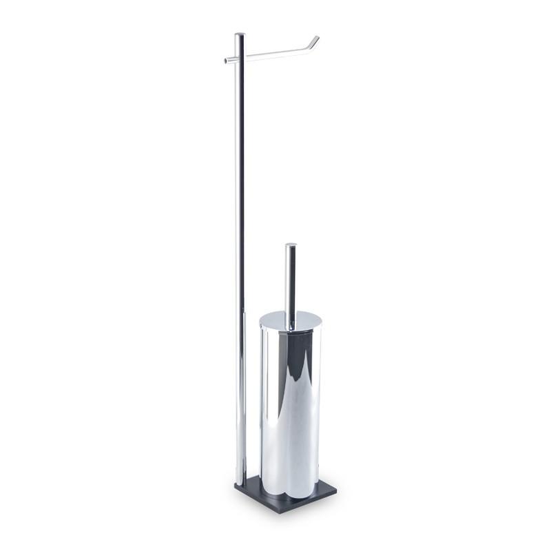 Piantana wc da bagno di alta qualità in ottone cromato - base cm 10 x 10 in acciaio inox Aisi 304 verniciato