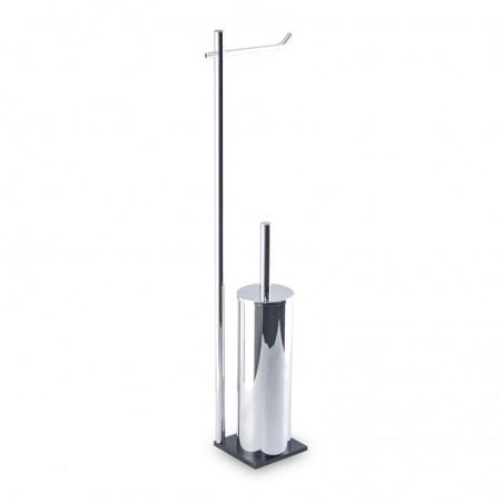 Piantana wc antibatterica da bagno di alta qualità in ottone cromato - base cm 10 x 10 in acciaio inox Aisi 304 nero