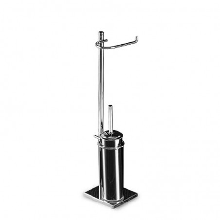 Piantana wc antibatterica da bagno in ottone cromato con base rettangolare - piantana bagno
