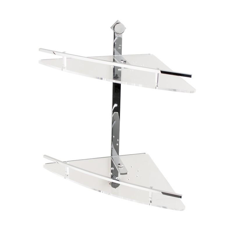 Mensola doccia angolare 2 ripiani in ottone cromato e plexiglass , accessori  doccia
