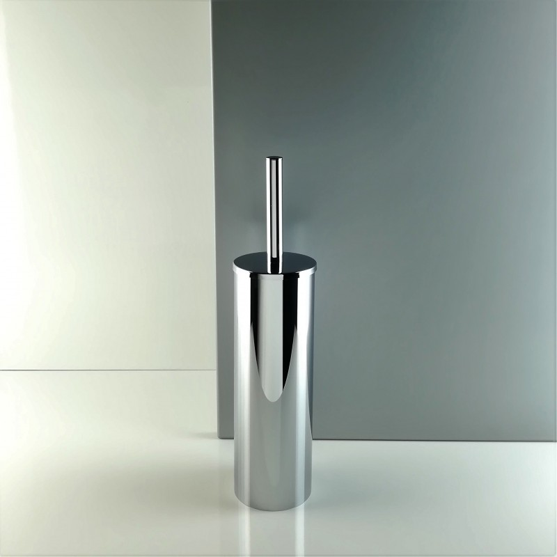 Porta scopino da bagno a terra - pavimento in ottone cromato