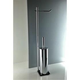 Piantana wc da bagno antibatterica di alta qualità in ottone cromato - base cm 10 x 10 in acciaio inox Aisi 304 verniciato