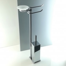 Piantana water bidet da bagno quadrata in ottone cromato.