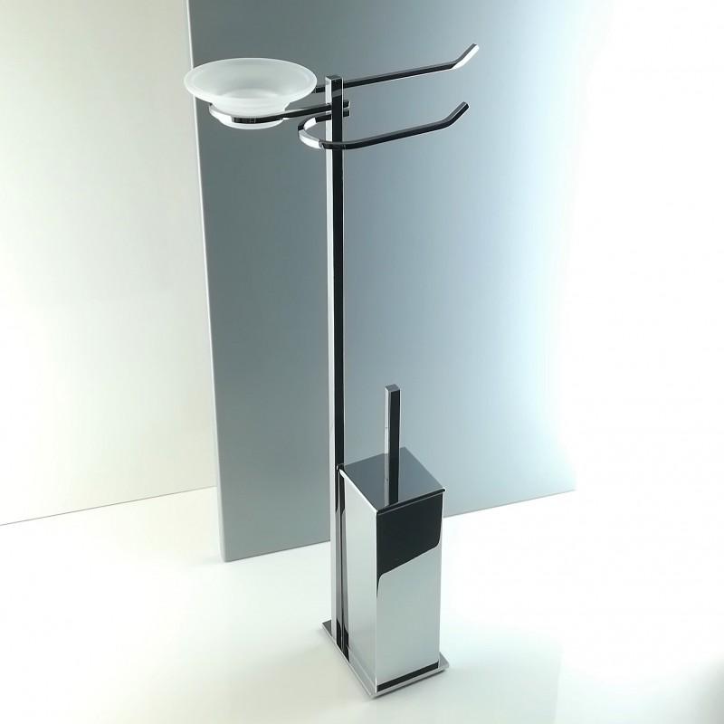 Piantana water bidet antibatterica da bagno quadrata in ottone cromato.