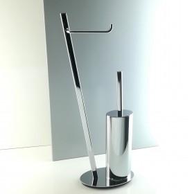 Piantana water da bagno in ottone cromato design ovale inclinato
