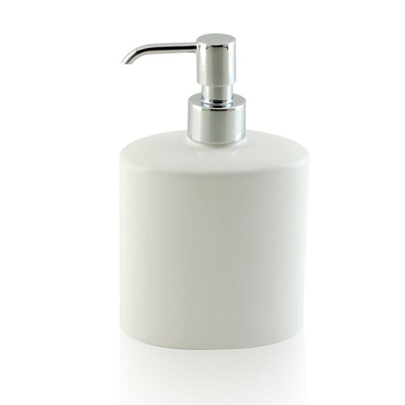 Dispenser - dosatore di sapone ovale da appoggio in ceramica e ottone cromato