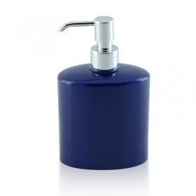 Dispenser - dosatore di sapone ovale da appoggio in ceramica e ottone cromato - accessori bagno