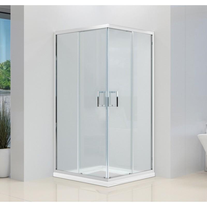 Box doccia 2 lati cristallo 6 mm trasparente anticalcare for Doppia porta scorrevole