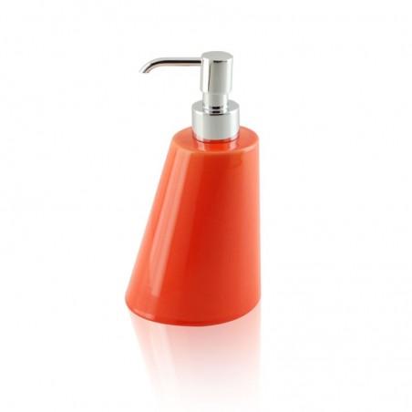 Dispenser - dosatore di sapone liquido da appoggio in ceramica e ottone cromato - accessori bagno