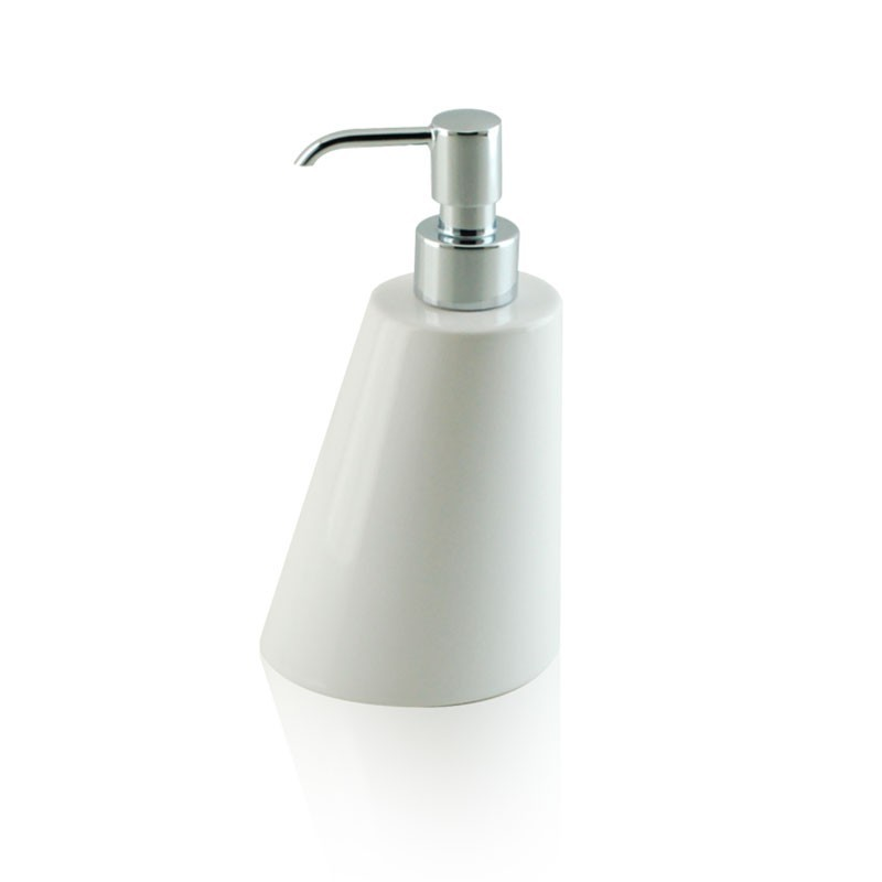Dispenser - dosatore di sapone liquido da appoggio in ceramica e ottone cromato
