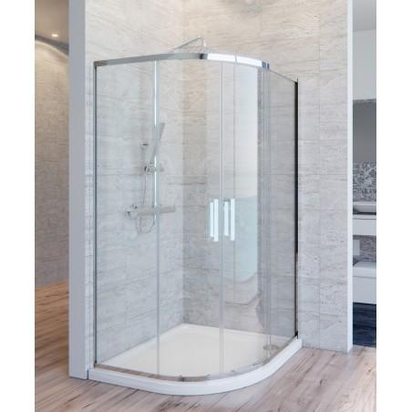 Box doccia 2 lati semicircolare cristallo 6 mm trasparente  anticalcare doppia porta scorrevole