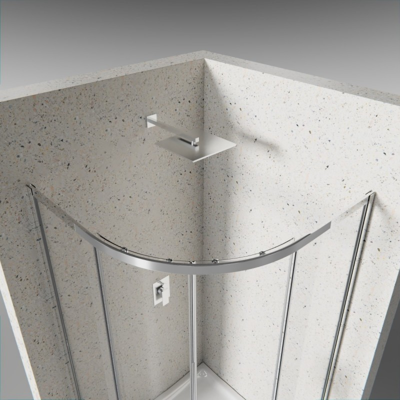 Box doccia 2 lati semicircolare cristallo 6 mm satinato anticalcare doppia porta scorrevole