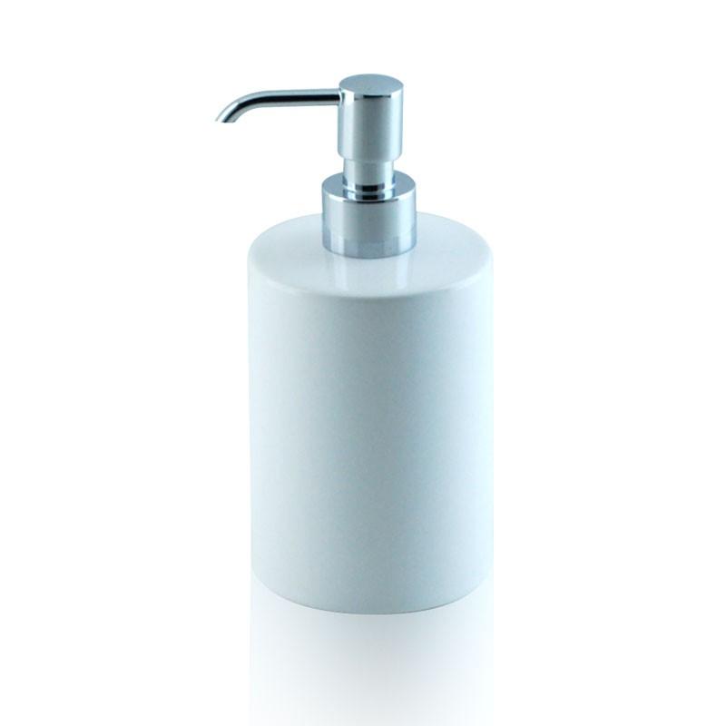 Dosatore di sapone liquido in ceramica e ottone cromato