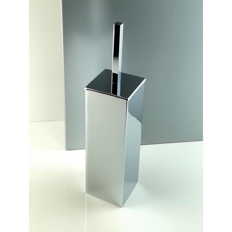 Porta scopino da bagno antibatterico quadrato a terra - pavimento in ottone cromato