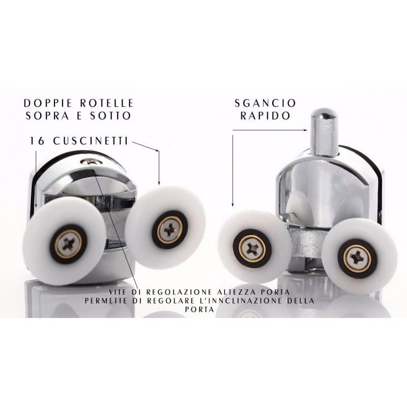 16 cuscinetti sferici per una scorrevolezza morbida e lineare della porta doccia