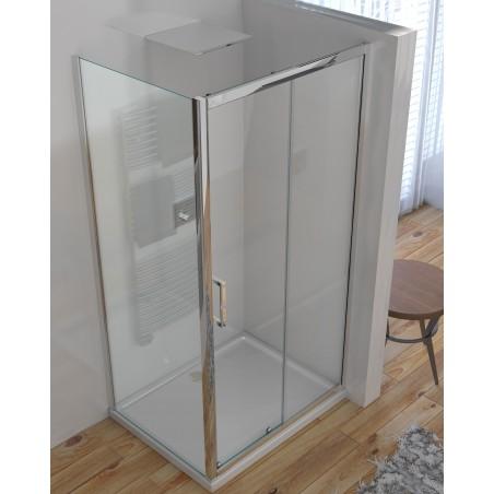 Box doccia 2 lati cristallo 6 mm trasparente anticalcare porta scorrevole + lato fisso