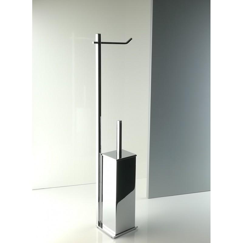 Piantana water da bagno quadrata in ottone cromato, base cm 10 x 10