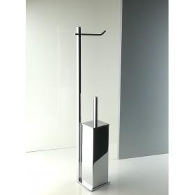 Piantana water da bagno quadrata in ottone cromato con scopino antibatterico, base cm 10 x 10