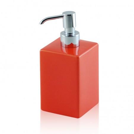 Dispenser - dosatore di sapone quadrato da appoggio in ceramica e ottone cromato - accessori bagno