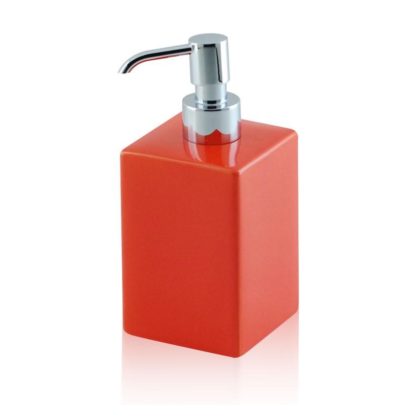 Dosatore di sapone bagno in ceramica e ottone cromato