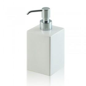 Dispenser - dosatore di sapone quadrato da appoggio in ceramica e ottone cromato